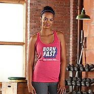 Womens Road Runner Sports Born Fast Graphic Sleeveless & Tank Technical Tops - Heather Fuchsia M