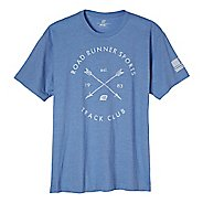 Mens Road Runner Sports Track Club Graphic Short Sleeve Technical Tops - Heather Athletic Blue 2XL