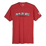 Mens Road Runner Sports Run Like Hell Graphic Short Sleeve Technical Tops - Heather Red XL