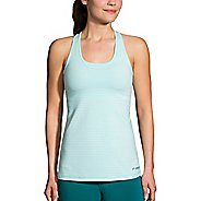 Womens Brooks Pick Up Sleeveless & Tank Technical Tops - Pool/White Stripe XL
