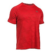 Mens Under Armour Tech Jacquard Tee Short Sleeve Technical Tops - Red/Rapture Red M