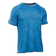 Mens Under Armour Tech Jacquard Tee Short Sleeve Technical Tops - Brilliant Blue/Grey XL