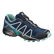 Womens Salomon Speedcross 4 Trail Running Shoe - Navy/Turquoise 9.5
