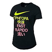 Womens Nike Run Fast Tee Short Sleeve Technical Tops - Black L