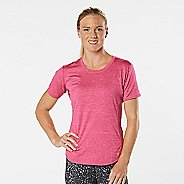 Womens Road Runner Sports Fast and Fab Short Sleeve Technical Tops - Heather Dynamo Pink XS