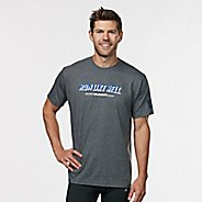 Mens R-Gear Run Like Hell Graphic Tee Short Sleeve Technical Tops - Heather Charcoal L
