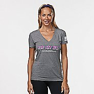 Womens R-Gear Run Like Hell Graphic Tee Short Sleeve Technical Tops - Heather Grey XL