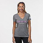 Womens R-Gear Run Like Hell Graphic Tee Short Sleeve Technical Tops - Heather Grey XL