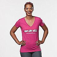 Womens R-Gear Run Like Hell Graphic Tee Short Sleeve Technical Tops - Heather Berry M
