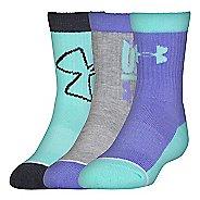 Under Armour Kids Next Crew 3 pack Socks - Violet Storm L