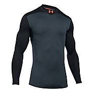 Mens Under Armour ColdGear Elements Mock Long Sleeve Technical Tops - Bayou Blue/Grey M