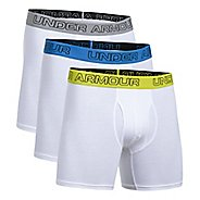 Mens Under Armour Cotton Stretch 6'' 3 Pack Boxer Brief Underwear Bottoms