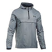 Mens Under Armour SportStyle Anorak Half-Zips & Hoodies Technical Tops - Steel/Steel S