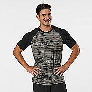 Mens Road Runner Sports Base Runner Printed Short Sleeve Technical Tops - Steel/Black L