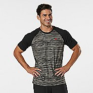 Mens Road Runner Sports Base Runner Printed Short Sleeve Technical Tops - Steel/Black S