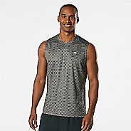 Mens Road Runner Sports Runners High Geometric Sleeveless & Tank Technical Tops - Steel XXL