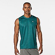 Mens Road Runner Sports Runners High Geometric Sleeveless & Tank Technical Tops - Deep Teal L