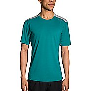 Mens Brooks Distance Short Sleeve Technical Tops - Lake/Stone M