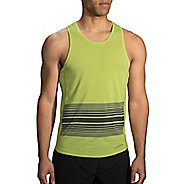 Mens Brooks Distance Printed Tank Sleeveless & Tank Technical Tops - Heather Grove XXL