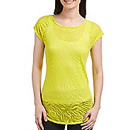 Katie K Signature Burnout Open Back Tee Short Sleeve Technical Tops - Citrus Zebra XL