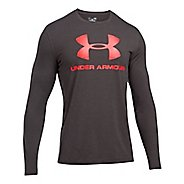 Mens Under Armour SportStyle Logo Tee Long Sleeve Technical Tops - Charcoal Heather/Red XL