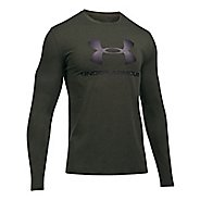 Mens Under Armour SportStyle Logo Tee Long Sleeve Technical Tops - Carbon Heather/Black L
