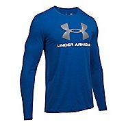 Mens Under Armour SportStyle Logo Tee Long Sleeve Technical Tops - Royal/White XL