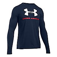 Mens Under Armour SportStyle Logo Tee Long Sleeve Technical Tops - Midnight Navy/White XL