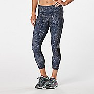 Womens R-Gear Recharge Compression Printed Crop Capris Tights - Midnight Blue Dot S