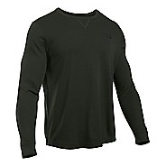 Mens Under Armour Waffle Crew Long Sleeve Technical Tops - Artillery Green M