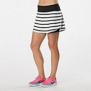 Womens Road Runner Sports PowerPlay Striped Skort Fitness Skirts - White/Black XL