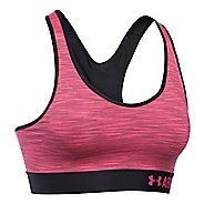 Womens Under Armour Mid Space Dye Sports Bras - Black/Pink Sky M