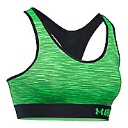 Womens Under Armour Mid Space Dye Sports Bras - Black/Lime Light S