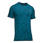 Mens Under Armour Threadborne Seamless Short Sleeve Technical Tops - Bayou Blue/Graphite XXL