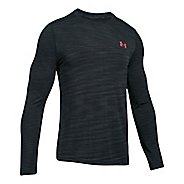 Mens Under Armour Threadborne Seamless Long Sleeve Technical Tops - Anthracite/Red M