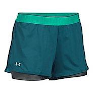 Womens Under Armour Heatgear 2-in-1 Shorty Shorts - Blue/Grey L