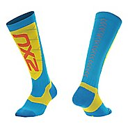 Mens 2XU Elite Compression Alpine Socks Injury Recovery - Blue/ Yellow XL