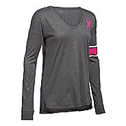 Womens Under Armour Favorite CM PIP Long Sleeve Technical Tops - Carbon Heather M