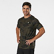 Mens Road Runner Sports Training Day Printed Short Sleeve Technical Tops - Olive Night/Black S