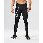 Mens 2XU Wind Defence Compression Tights & Leggings Pants - Black/Steel L