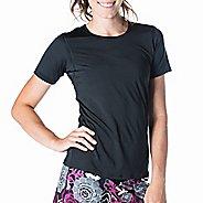 Womens Skirt Sports Free Flow Tee Short Sleeve Technical Tops - Black XS