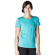 Womens Skirt Sports Free Flow Tee Short Sleeve Technical Tops - Aquamarine XL