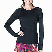 Womens Skirt Sports Free Flow Long Sleeve Technical Tops - Black XS