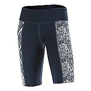 Womens 2XU PTN Mid-Rise Compression & Fitted Shorts - Blue/Vein Pattern XS