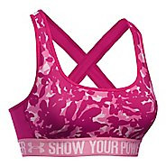 Womens Under Armour Mid Crossback - PIP Printed Sports Bras - Tropic Pink M