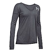 Womens Under Armour Favorite - Wordmark Back Long Sleeve Technical Tops - Carbon Heather S