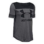 Womens Under Armour SportStyle Baseball T Short Sleeve Technical Tops - Black/Carbon Heather XS