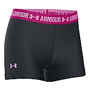Womens Under Armour HeatGear Shorty Compression & Fitted Shorts - Black/Magenta Shock S
