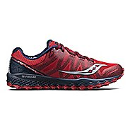 Mens Saucony Peregrine 7 Trail Running Shoe - Red/Navy 7.5