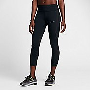 Womens Nike Power Epic Lux Crop Mesh Capris Tights - Black L
